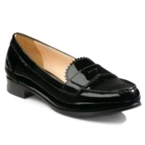 PRADA BLACK PATENT LEATHER PINKED PENNY LOAFERS